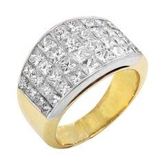 Gold and Invisible Set Princess Cut Diamond Ring