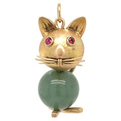 Gold and Jade Cat Charm