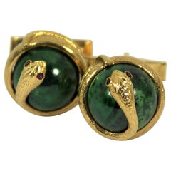 Gold and Jade Snake Cufflinks with Ruby Eyes