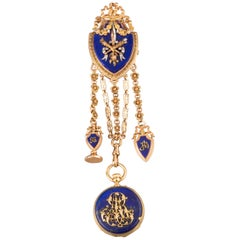 Gold and Lapis Lazuli Antique Châtelaine Brooch by Le Roy & Fils Paris