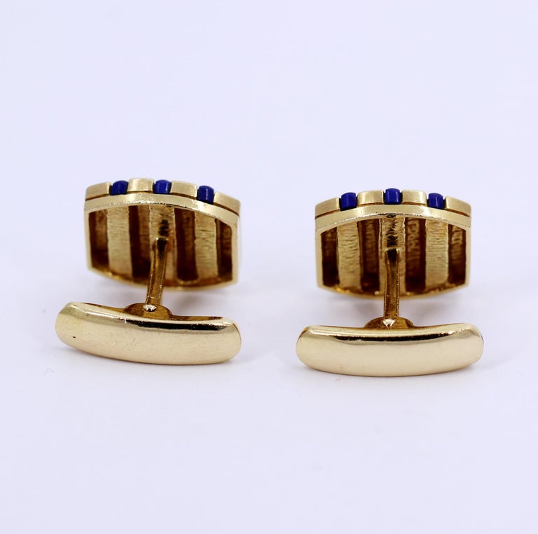 Uncut Gold and Lapis Lazuli Cufflinks For Sale