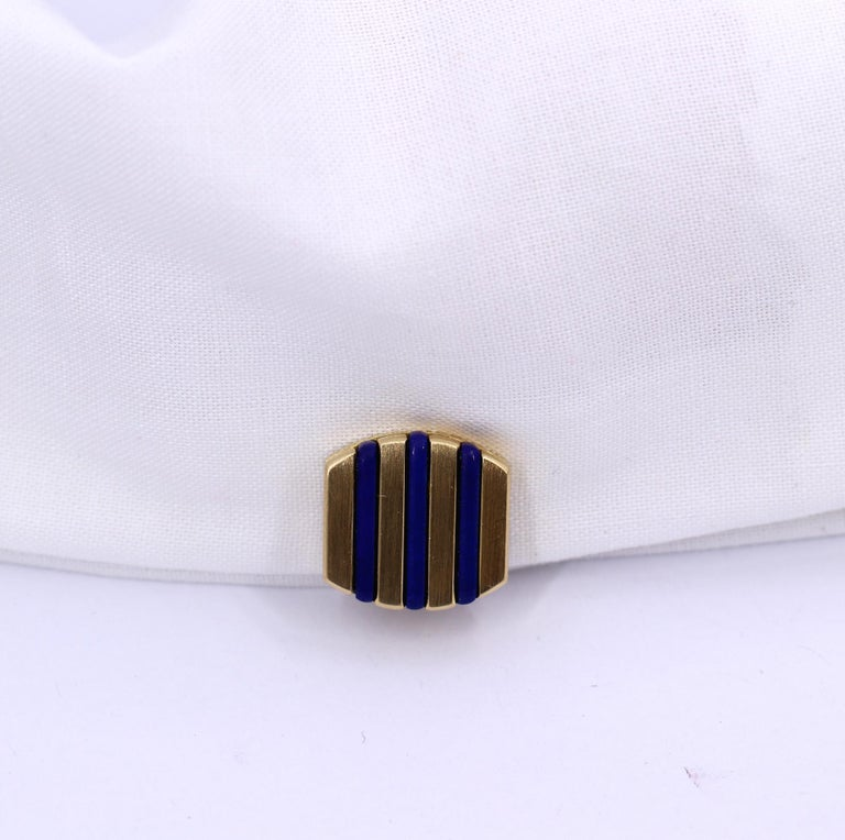Gold and Lapis Lazuli Cufflinks In Good Condition For Sale In Palm Beach, FL