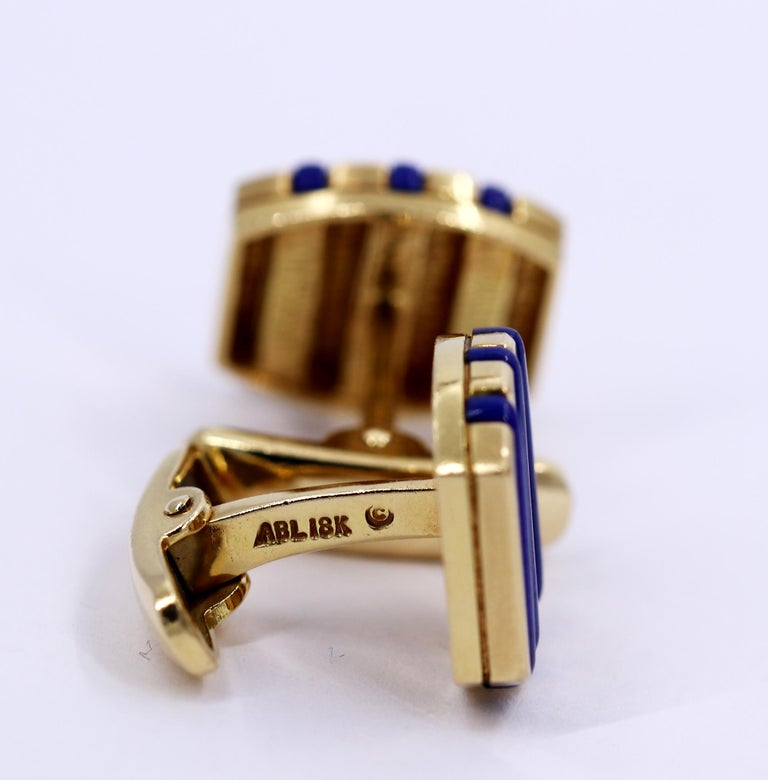 Men's Gold and Lapis Lazuli Cufflinks For Sale