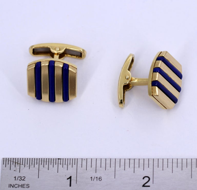 Gold and Lapis Lazuli Cufflinks For Sale 1