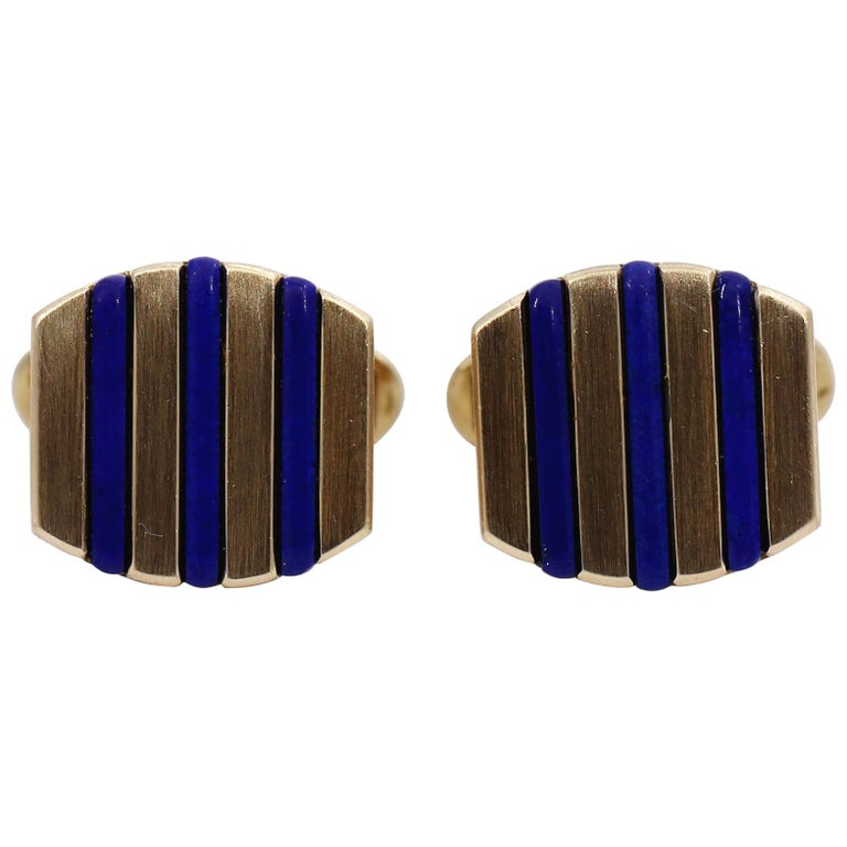 Gold and Lapis Lazuli Cufflinks For Sale