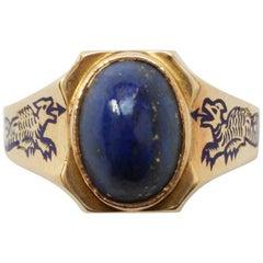 Gold and Lapis Lazuli Dragon Ring