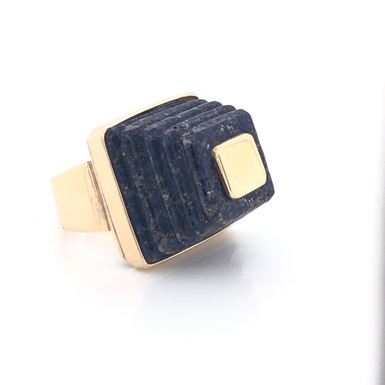 14k gold 70's lapis Pyramid ring. The 14k ( tested) 3/4