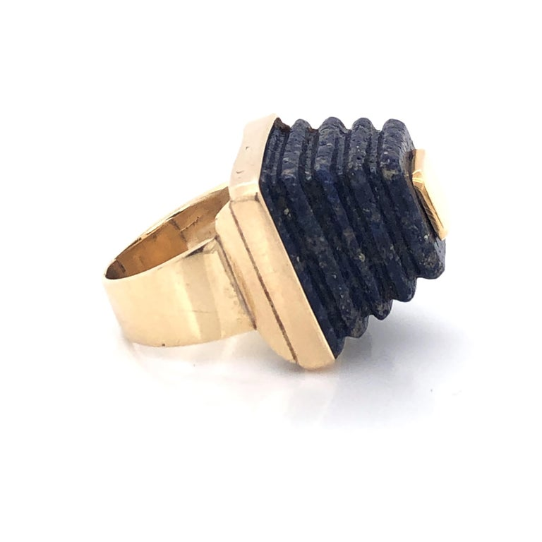 Modernist Gold and Lapis Lazuli Pyramid Ring, 1970s For Sale