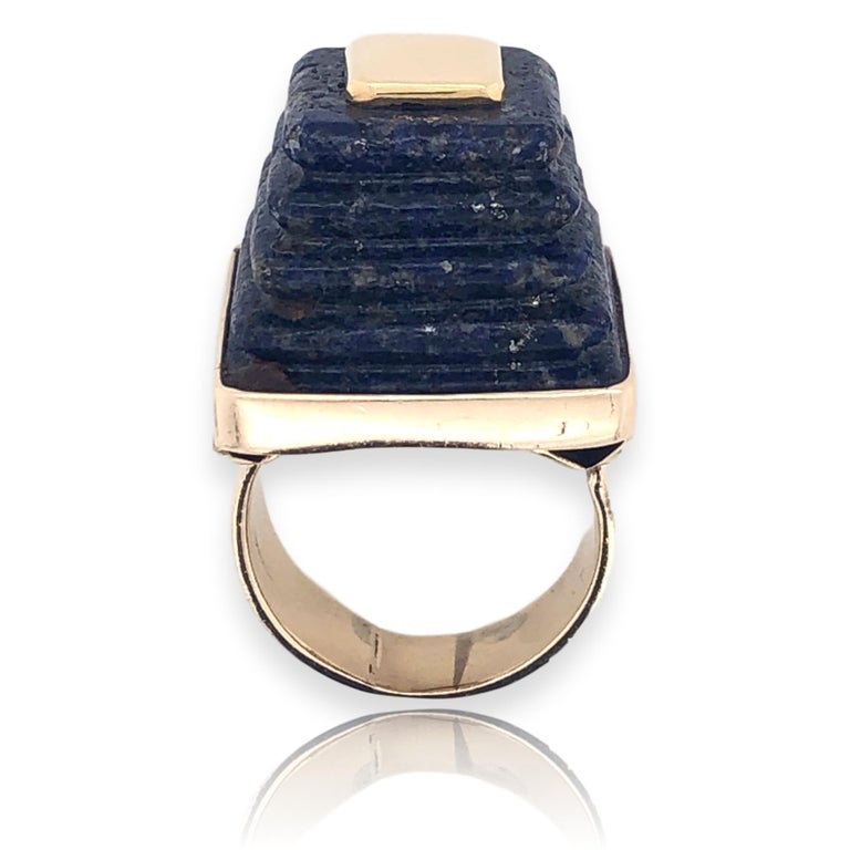 Trapezoid Cut Gold and Lapis Lazuli Pyramid Ring, 1970s For Sale