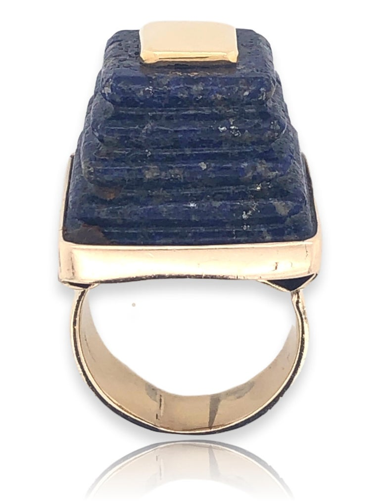 Women's or Men's Gold and Lapis Lazuli Pyramid Ring, 1970s For Sale