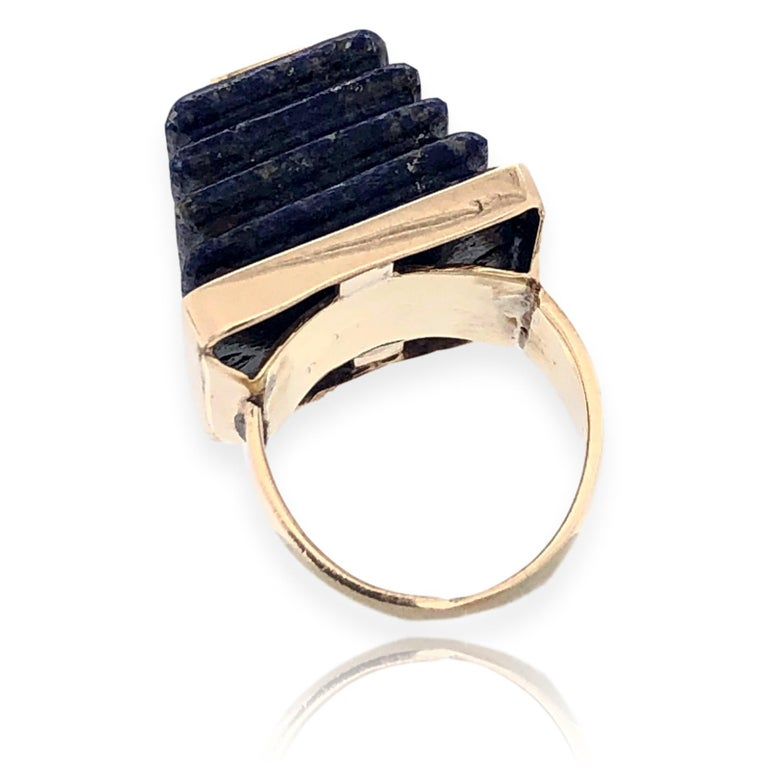Gold and Lapis Lazuli Pyramid Ring, 1970s For Sale 1