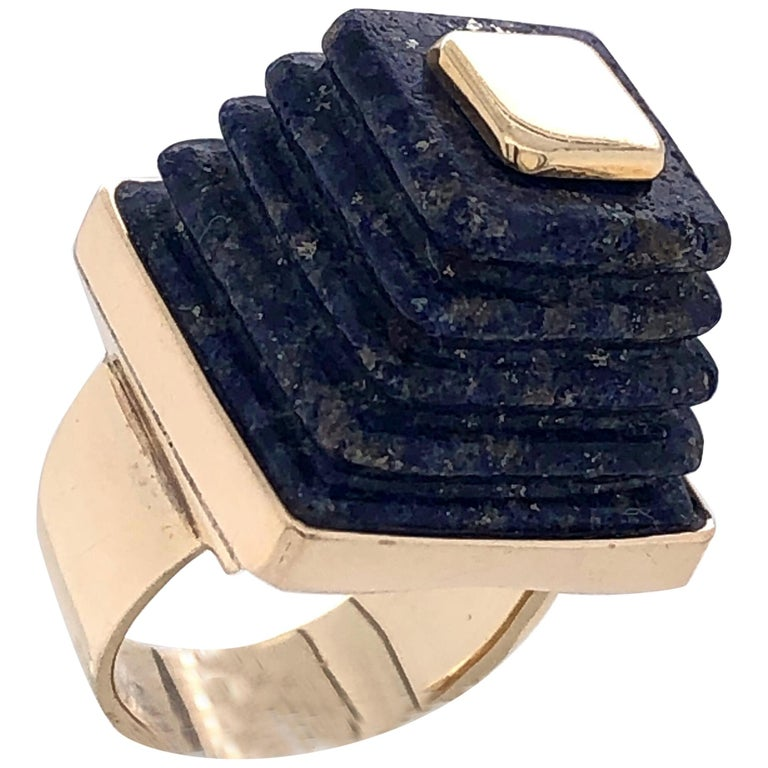 Gold and Lapis Lazuli Pyramid Ring, 1970s For Sale