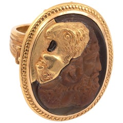 Gold and Large Agate Gryllus Cameo Ring