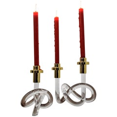 Gold and Lucite Candlestick Holders by Dorothy Thorpe