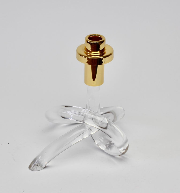 20th Century Gold and Lucite Twisted Pretzel Candlestick Holder/Candelabra by Dorothy Thorpe