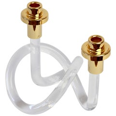 Gold and Lucite Twisted Pretzel Candlestick Holder/Candelabra by Dorothy Thorpe