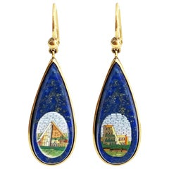 Gold and Micromosaic Earrings 'Mid-19th Century-Cestius Pyramind and Colosseum'