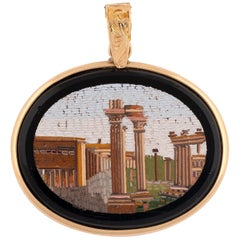 Gold and Micromosaic Oval Plaque Pendant