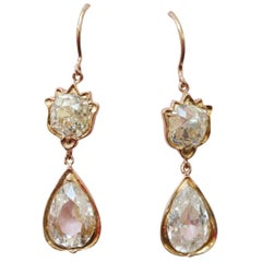 Gold and Old Cut Diamond Tulip Earrings