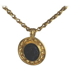 Gold and Onyx Cameo Pendant