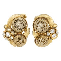 Gold and Pave Crystal Ball Chunky Retro Clip on Earrings, Mid 1900s