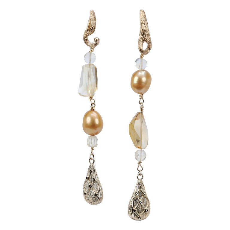Gold Pearl Citrine Drop Earrings For Sale