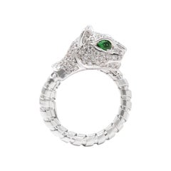 Tsavorite and Diamond Cat Ring, 18 Karat White Gold