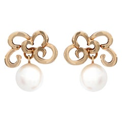 Gold and Pearl Earring, 18 Karat Yellow Gold