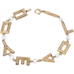Gold and Pearl I Love You Bracelet