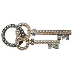 Gold and Pearl Key Brooch