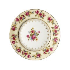 Gold and Pink Floral Painted Ceramic Plate with Scalloped Edges