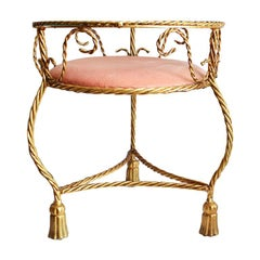 Gold and Pink Tole Tassel Table with Glass Top and Velvet Upholstery Italy 1920s