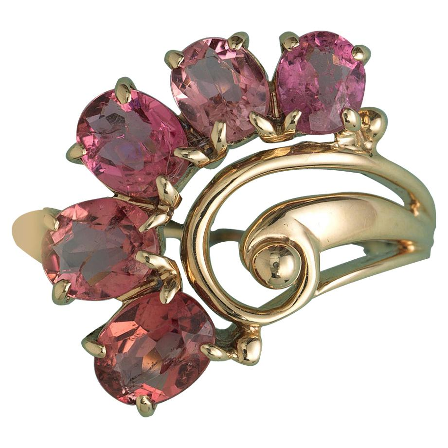Gold and Pink Tourmaline Flower Ring