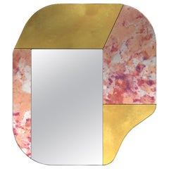 Gold and Pink WG.C1.A Hand-Crafted Wall Mirror
