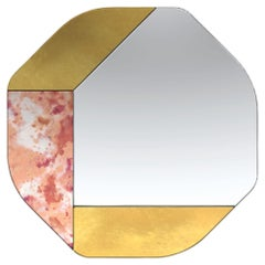 Gold and Pink WG.C1.B Hand-Crafted Wall Mirror