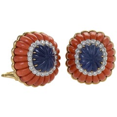 Gold and Platinum Earrings with Diamonds, Sapphires and Corals by David Webb