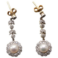 Gold and Platinum Edwardian Earrings with Diamond and Pearls