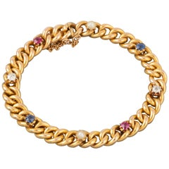 Gold and Precious Stones French Bracelet