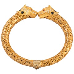 Gold and Precious Stones Panther Bracelet