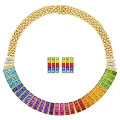 Gold and Rainbow Gem-Set and Diamond Necklace Earclips