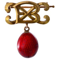 Gold and Red Enamel Egg Brooch by Alfred Thielmann for Faberge