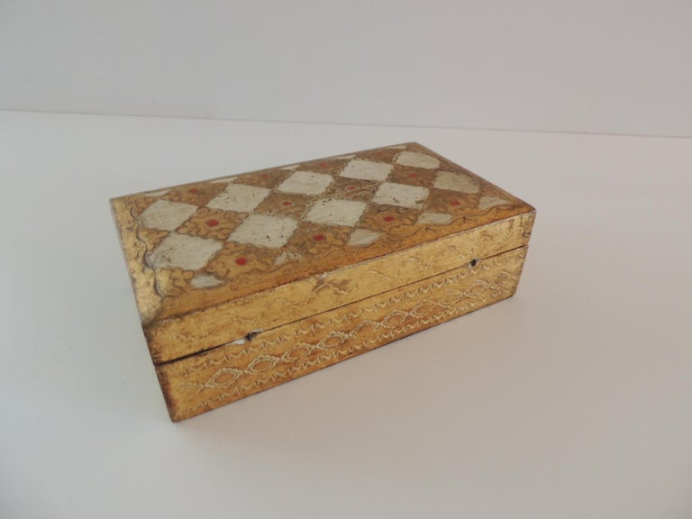 Italian Gold and Red Florentine Jewelry Box For Sale