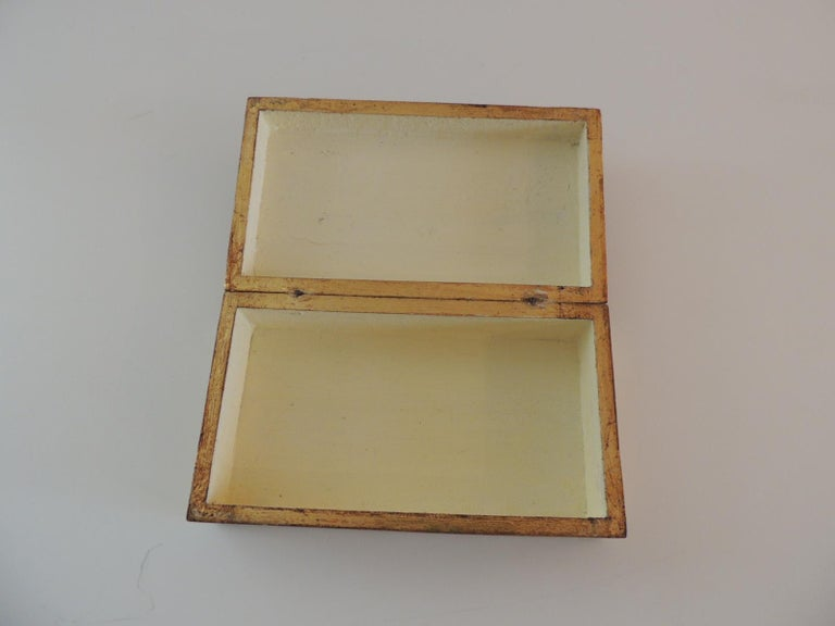 Hand-Crafted Gold and Red Florentine Jewelry Box For Sale