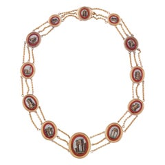 Gold and Red Glass Micromosaic Necklace, circa 1810-1820