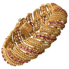 Gold and Rubies Vintage Bracelet