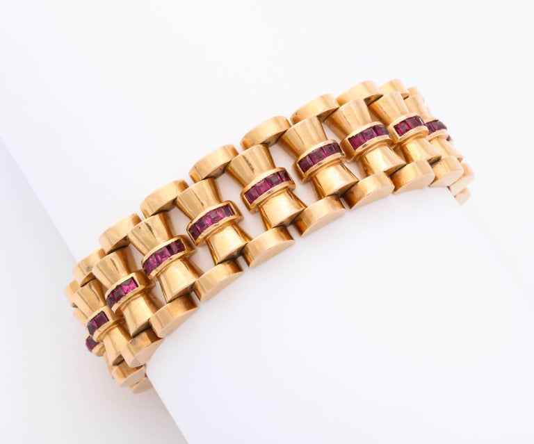 Gold and Ruby Bracelet For Sale 1