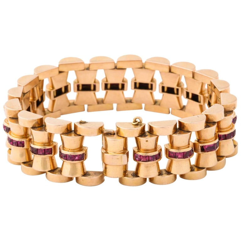 Gold and Ruby Bracelet For Sale