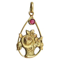 Gold and Ruby Flower Basket Pendant, circa 1890