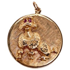 Gold and Ruby Poodle Charm