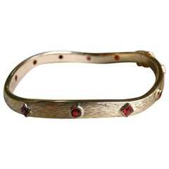 Gold and Ruby Wave Bangle